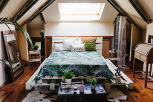 Beautiful Attic Bedroom With Modern Decoration
