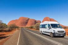 Australia, Northern Territory, Camper On Kata Tjuta Road Through Central Australian Desert