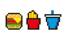 Burger With Cheese Lettuce Tomato French Fries With Box Soda Cup Trio Combo Fast Food Pixel Art 8 Bits Retro Classic Vintage Design For Web Pages, Apps, Menus, Social Media, Animation And Advertising