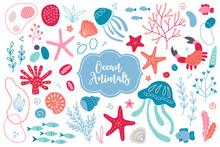 Sea Set With Jellyfish, Starfish, Shell, Seaweed, Crab, Fish, Bubbles