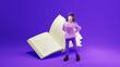 Leinwandbild Motiv Education concept. 3d of book and girl on purple background. Modern flat design isometric concept of Education. Back to school.