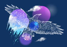 Flying Bird Hand Drawn Graphic Illustration, Tee Print