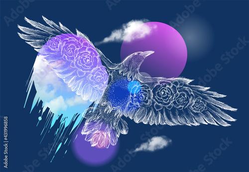 Fototapeta premium Flying bird hand drawn graphic illustration, tee print