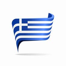 Greek Flag Map Pointer Layout. Vector Illustration.