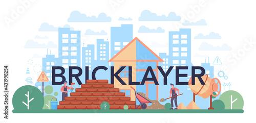 Fototapeta Bricklayer typographic header. Professional builder constructing a brick wall obraz