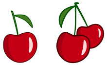 Simple Red Cherry Drawing Vector, Single And Two Fruits Version