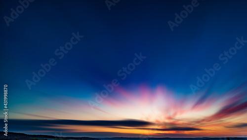 Beautiful sunset sky with clouds, twilight sky background. - fototapety na wymiar