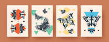 Set Of Abstract Ink Shapes Of Butterflies On Banners On Pastel Background. Dark Insect Silhouettes With Wings On Retro Background. Wildlife Concept For Social Media, Postcards, Invitation Cards