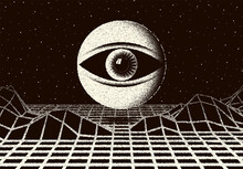 Retro Dotwork Landscape With 60s Or 80s Styled Alien Robotic Space Eye Over The Desert Planet. Background With Old Sci-fi Style.