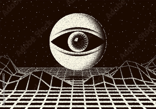 Leinwand Poster Retro dotwork landscape with 60s or 80s styled alien robotic space eye over the desert planet