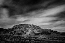Black And White Rendition Of Spring Skies In Red Rock Canyon State Park, CA