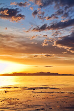 Sunset At The Great Salt Lake In Utah On A Warm Early Spring Day.