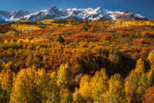 Early Morning Light On The Peaks Near Dallas Divide Outside Of Ridgway, Colorado.