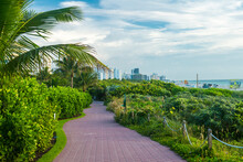 South Beach Miami: A Trail At The End Of South Pointe Park With South Beach Hotels In The Distance