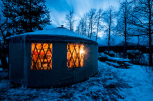 Yurt Welcomes Occupants On A Winters Eve. Montana