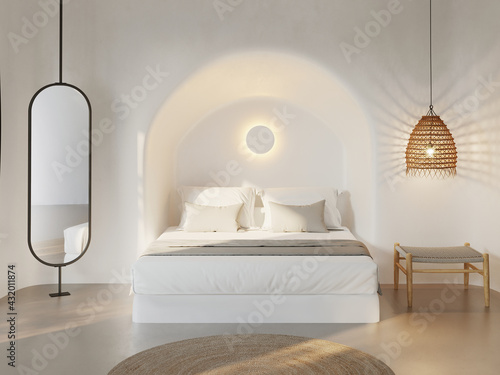 Fototapeta 3d rendering of a minimal white mediterranean cave bedroom with a comfortable bed with a bench and a rattan lamp obraz