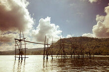 Scaffolding For Fishing Built In The South China Sea Off The Coast Of Borneo In Malaysia.