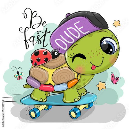 Turtle with a purple cap and a skateboard - fototapety na wymiar