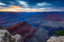 Colors Of The Grand Canyon Shift As The Sun Heads Towards The Horizon.