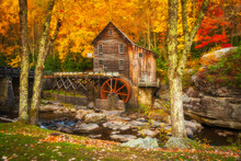 The Glade Creek Grist Mill At Babcock State Park In West Virginia.