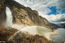 Rainbow At Wapama Falls, Yosemite National Park