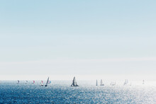 Sailboats In The Pacific Ocean, Off The Coast Of Santa Cruz On A Sunny Afternoon.