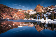 Reflection Of Sundial Peak Upon Lake Blanche In The Wasatch Range Via The Big Cottonwood Canyon.