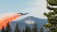 Firefighters Dropping Fire Retardant On The Rim Fire, Groveland, California