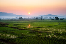 The Sun Sets Behind Foggy Hills And Expansive Rice Paddy Fields Near Chiang Mai, Thailand