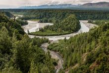 The Alaska Railroad Winds Through The Beautiful Countryside South Of Denali National Park.