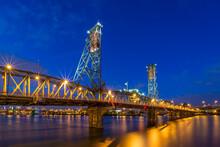 Portland's Hawthorne Bridge During Blue Hour At Dusk