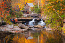 The Peak Of Autumn At The Glade Creek Grist Mill In Babcock State Park, West Virginia.