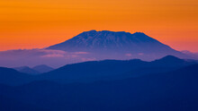 Silhouette Of Mt St Helens At Sunset