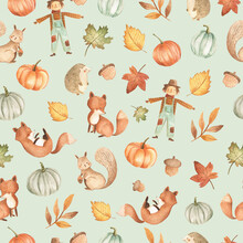 Autumn Fall Woodland Baby Animals Seamless  Pattern Tile With Leaves, Pumpkin And Harvest Illustration