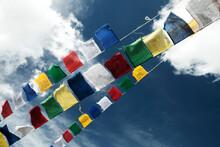 Tibetan Prayer Flags Hanging On The Mountains Surrounding Leh In Ladakh, Jammu & Kashmir, India