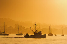 Fishing Boat Leaving Santa Barbara Harbor, California