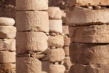 Stone Columns On The Colonnaded Street In Petra, Jordan.