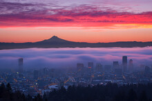 Fog Rolling Over Portland In Sunrise Color