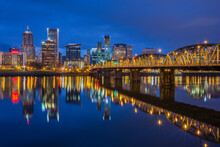 Portland's West Skyline And The Hawthorne Bridge At Dawn's Blue Hour