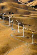 Lines Of Wind Generators From An Aerial Perspective In The Hills Near San Francisco California.