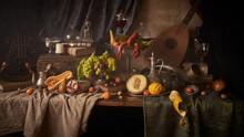 Fotografia Jak Malarstwo Olejne Przedstawiająca Martwą Naturę Z Homarem I Owocami W Stylu Starych Mistrzów Malarstwa Holenderkiego.