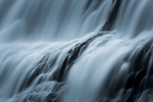 Detailed Abstract Of Waterfalls In Iceland. Blue Tint Version.