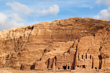 Royal Tombs, Carved Into Rock Cliffs, In Petra, Jordan.
