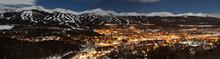 Panorama View Of Breckenridge, Colorado At Night In The Winter.