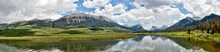 Panoramic Of The Upper Green River Valley In Wyoming, Green River With Wind River Range