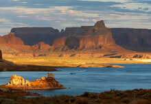Scenic Image Of Canyon And Buttes At Lake Powell, UT.