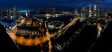 Night In Singapore Panorama Of City.