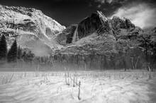 A Fresh Blanket Of Spring Snow Graces Yosemite Falls. Yosemite National Park, CA