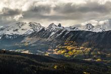 View Of Lizard Head With Mount Wilson, Wilson Peak, And El Diente Peak During An Autumn Storm - San Juan Mountains, Colorado