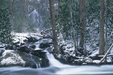 Falls That Feeds Into The Little River In Winter.